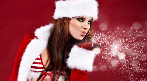 Christmas Girl With Santa Hat Image Photo Gallery High